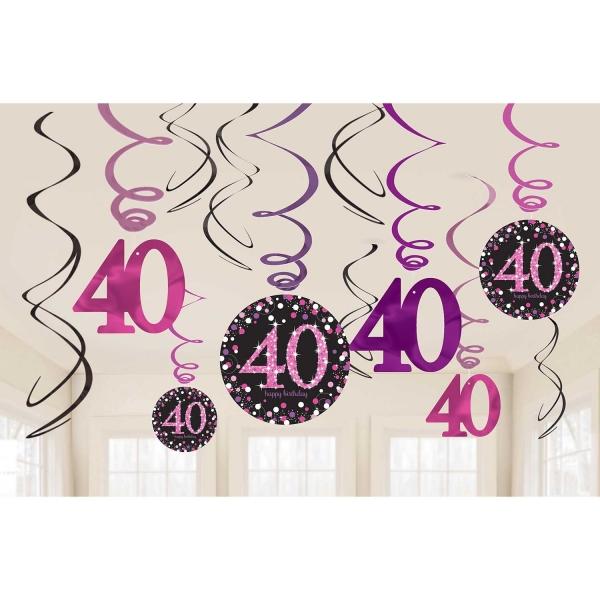 40. Geburtstag Party Swirl Girlanden schwarz pink