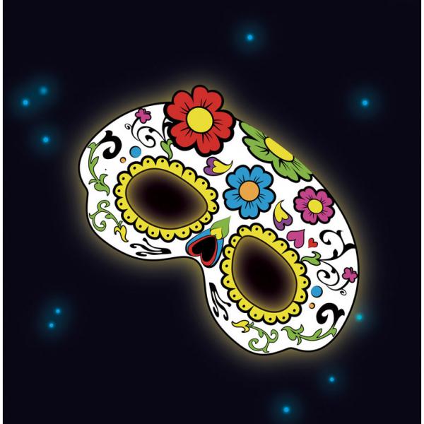 leuchtende Neon Raver Party Maske weiß mit Blumen