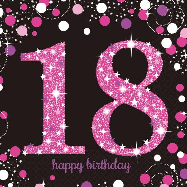 18. Geburtstag Party Servietten pink schwarz