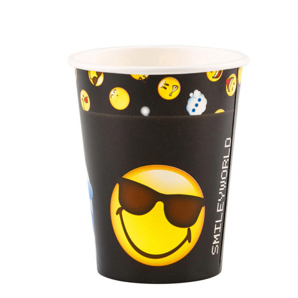 Smiley Emoticons Party Becher 250 ml