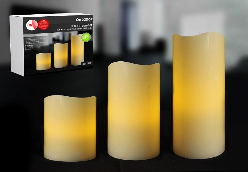 3 LED Kerzen mit Timerfunktion für Außenbereiche Batteriebetrieb