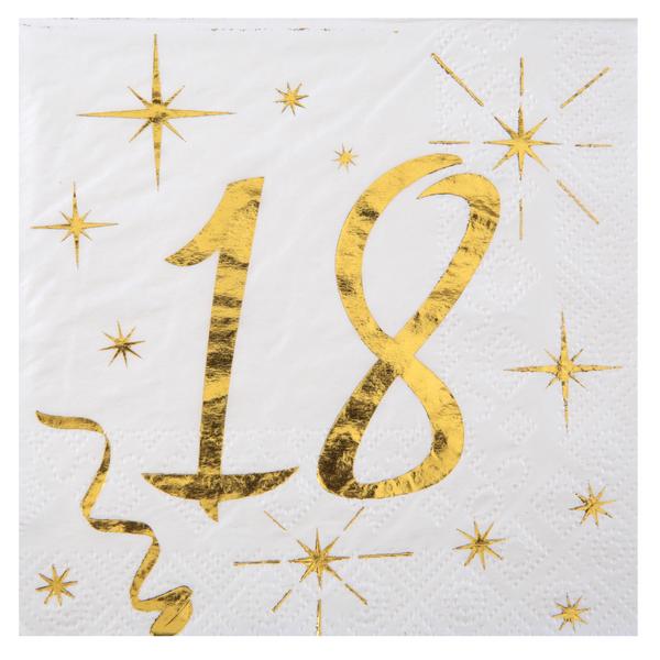 18. Geburtstag Servietten gold weiß Metallic 25 x 25 cm klein