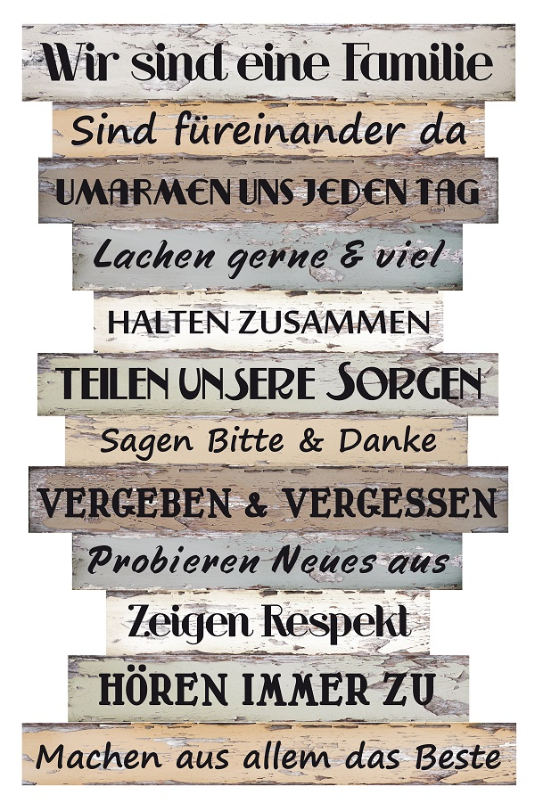 Wandbild Dekoschild Familienregeln