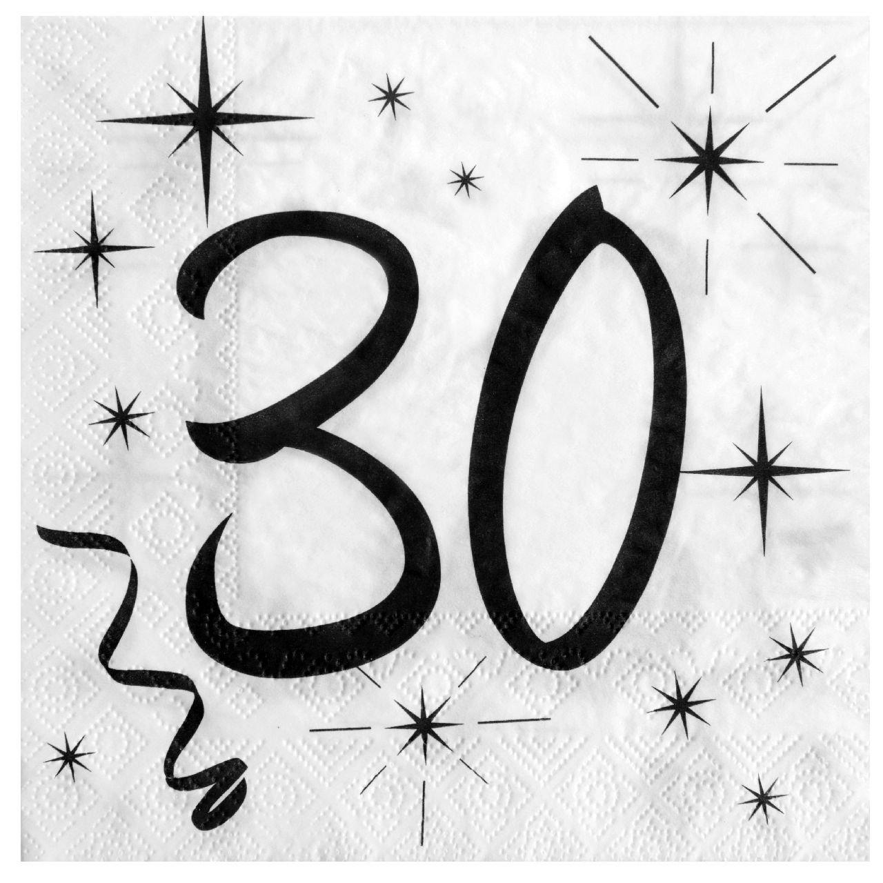 30. Geburtstag Servietten schwarz weiß