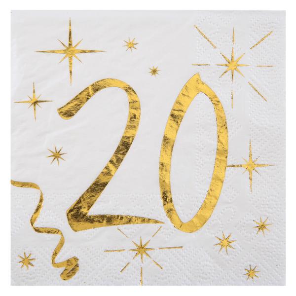 20. Geburtstag Servietten gold weiß Metallic 25 x 25 cm klein