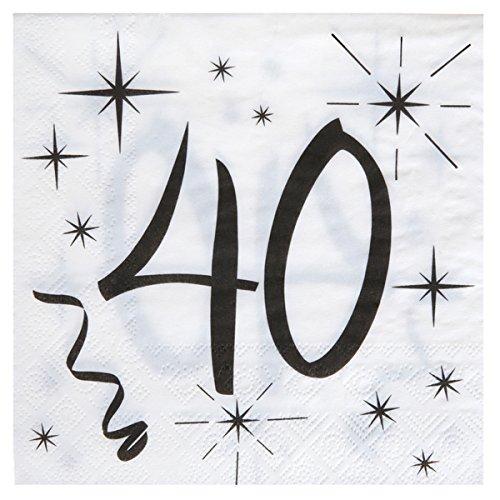 40. Geburtstag Servietten schwarz weiß