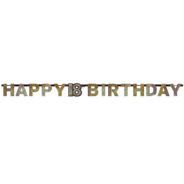 18. Geburtstag Party Girlande Happy Birthday schwarz gold