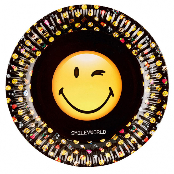 Smiley Emoticons Party Teller 23 cm im Durchm.