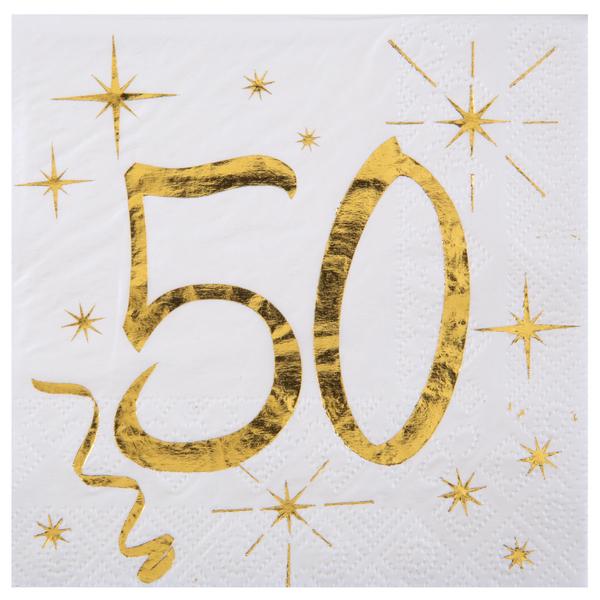 50. Geburtstag Servietten gold weiß Metallic 25 x 25 cm klein