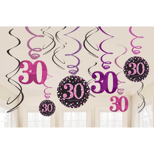 30. Geburtstag Party Swirl Girlanden schwarz pink