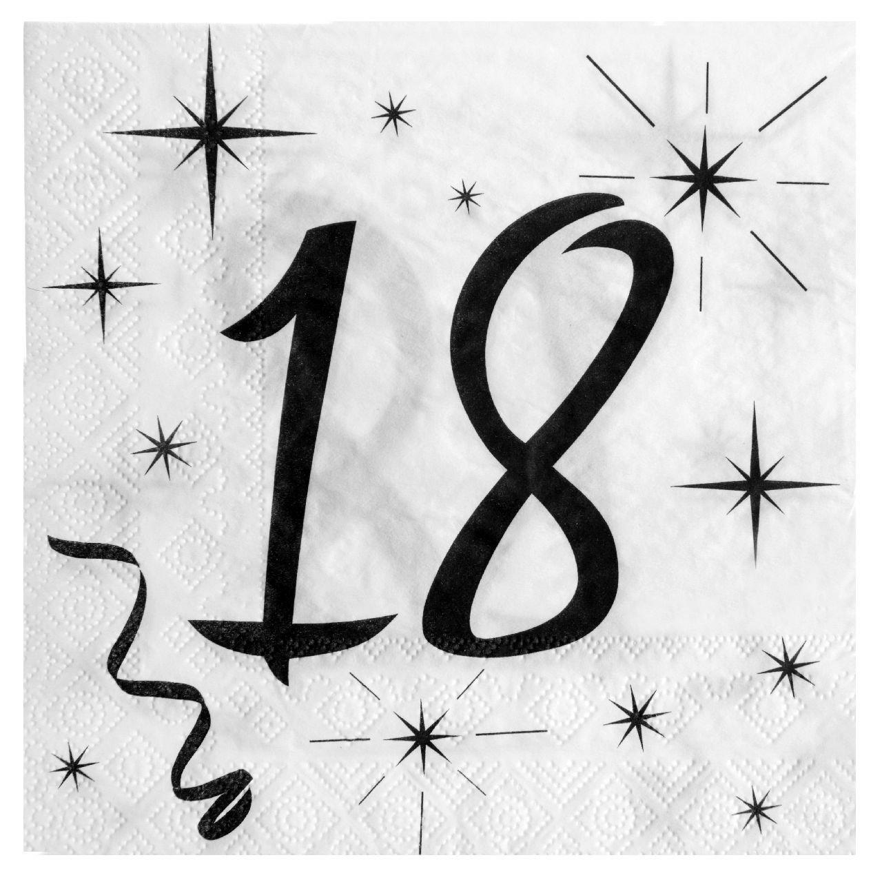 18. Geburtstag Servietten schwarz weiß