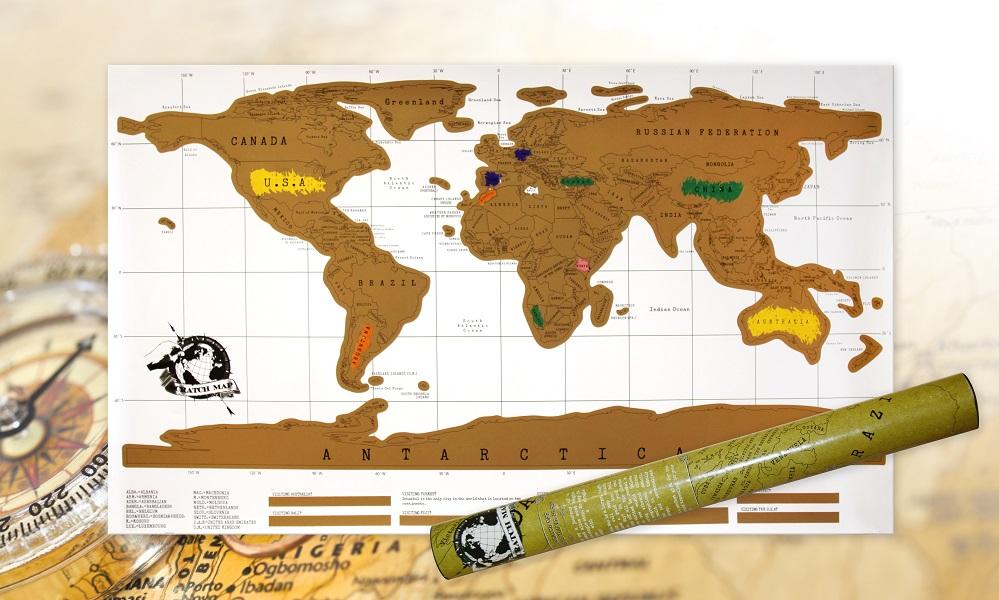 Rubbel Weltkarte in Geschenkrolle