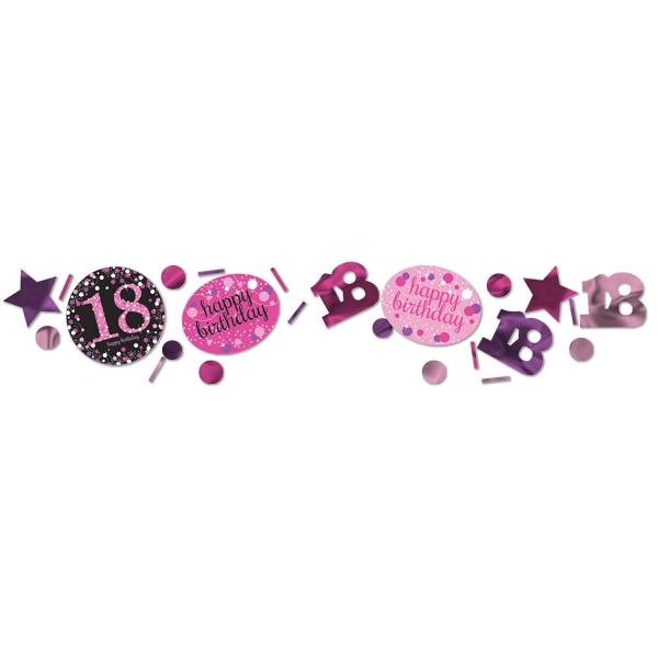 18. Geburtstag Party Deko Konfetti Happy Birthday pink schwarz