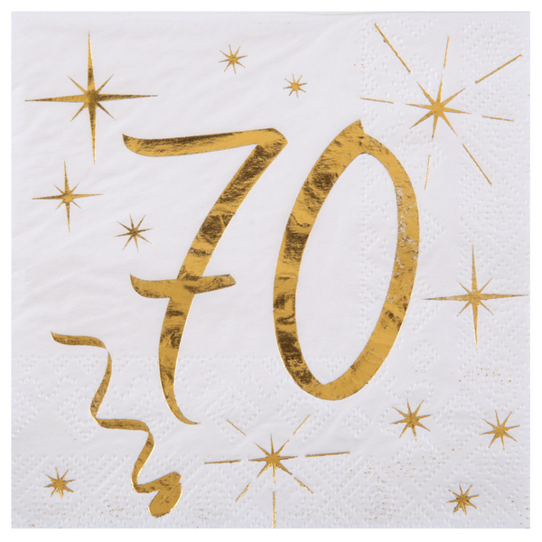 70. Geburtstag Servietten gold weiß Metallic 25 x 25 cm klein