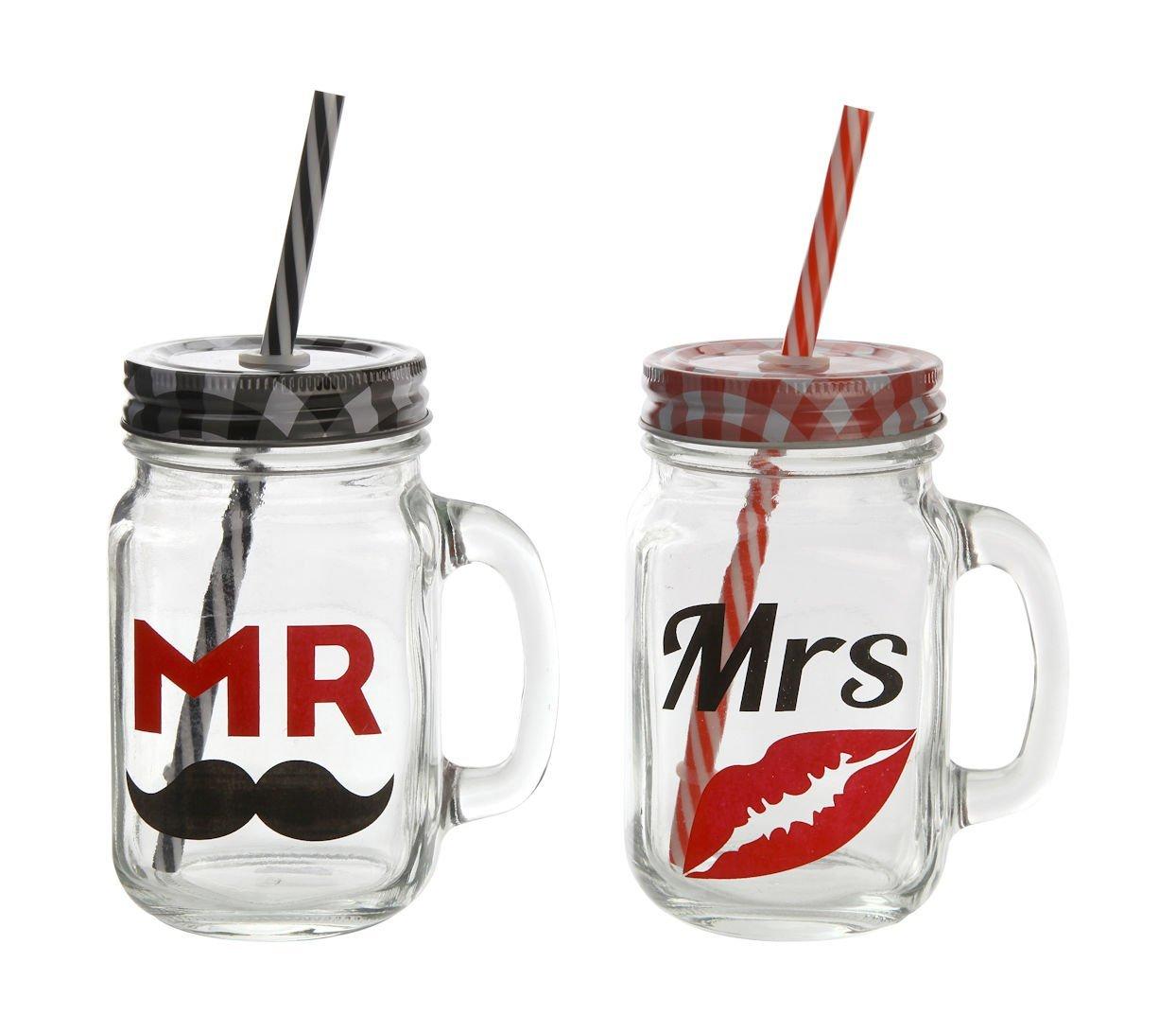 """Mr. & Mrs."" Trinkgläser mit Halm 2er Set"
