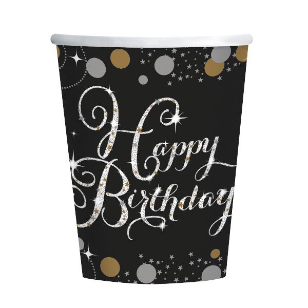 Happy Birthday Geburtstag Party Becher schwarz gold