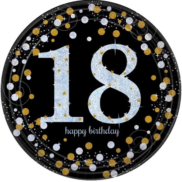 18. Geburtstag Party Teller prismatisch schwarz gold