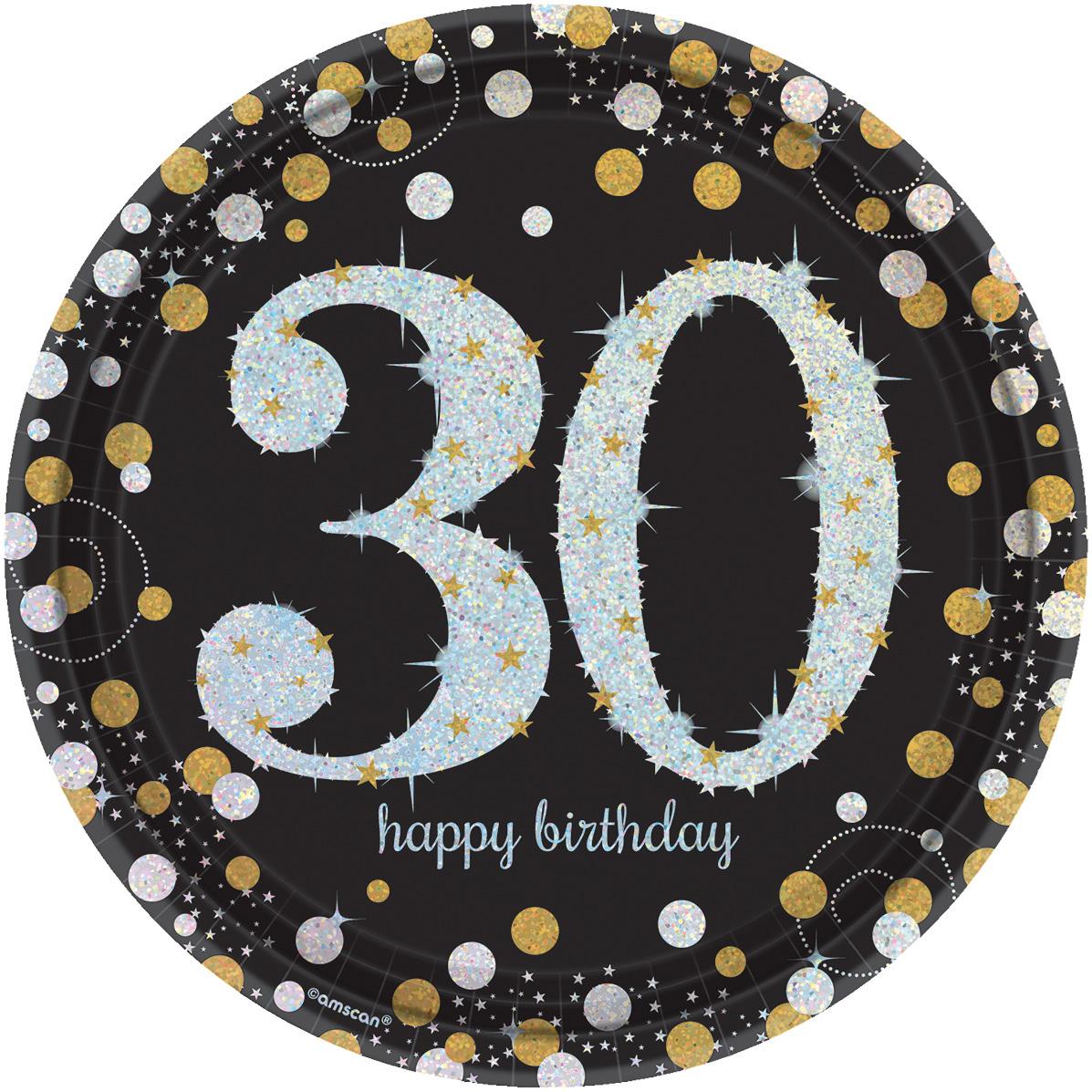 30. Geburtstag Party Teller prismatisch schwarz gold