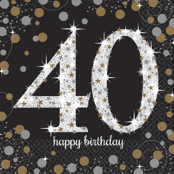 40. Geburtstag Party Servietten schwarz gold
