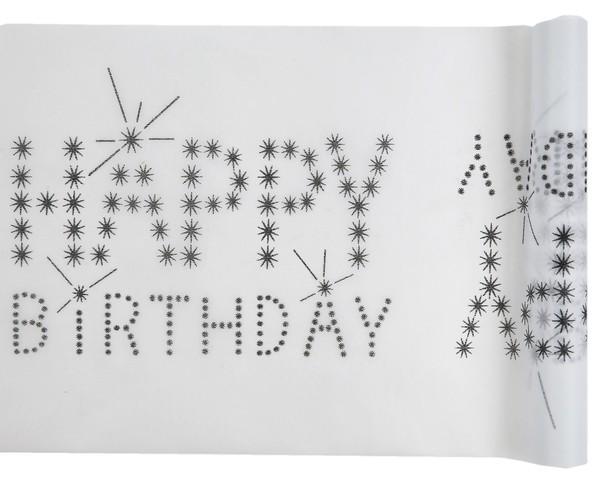Happy Birthday Geburtstag Tischband schwarz weiß