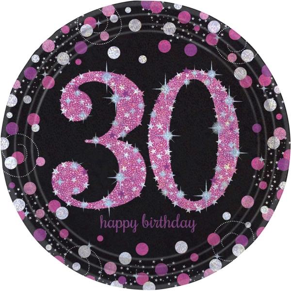 30. Geburtstag Party Teller prismatisch schwarz rosa
