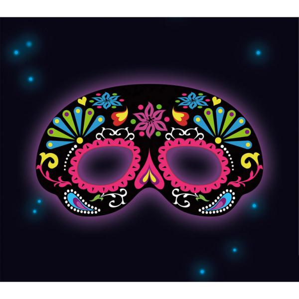 leuchtende schwarze Neon Raver Party Maske mit Ornamenten