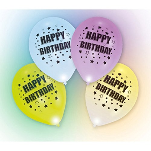4 LED Luftballons Happy Birthday Brenndauer 24h