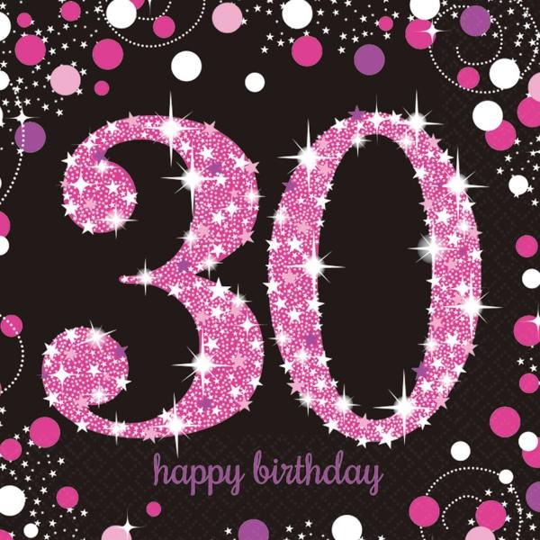 30. Geburtstag Party Servietten pink schwarz