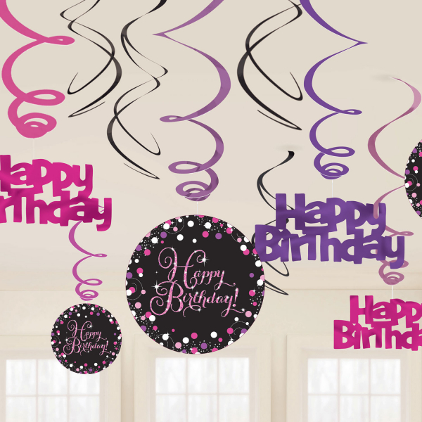 Happy Birthday Geburtstag Party Swirl Girlande schwarz pink