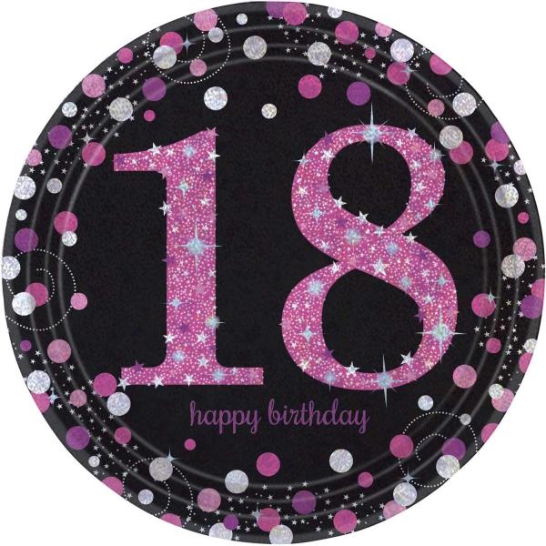 18. Geburtstag Party Teller prismatisch schwarz pink
