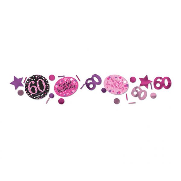 60. Geburtstag Party Deko Konfetti Happy Birthday schwarz pink