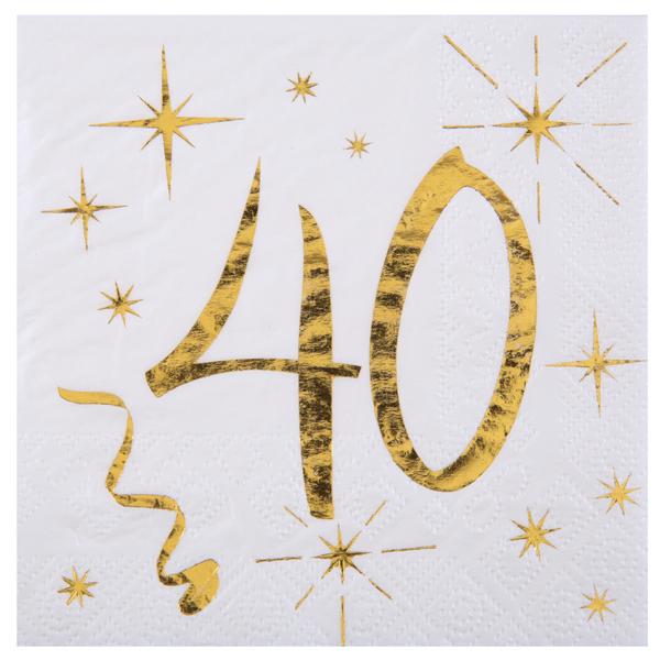40. Geburtstag Servietten gold weiß Metallic 25 x 25 cm klein