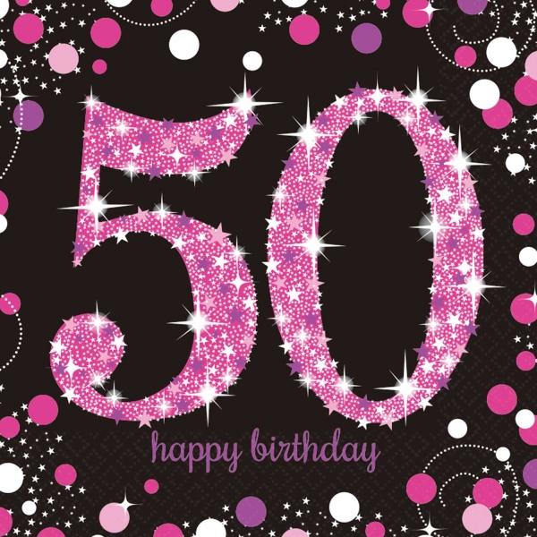 50. Geburtstag Party Servietten pink schwarz
