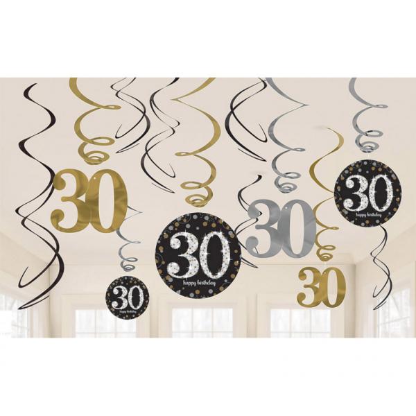 30. Geburtstag Party Swirl Girlanden schwarz gold
