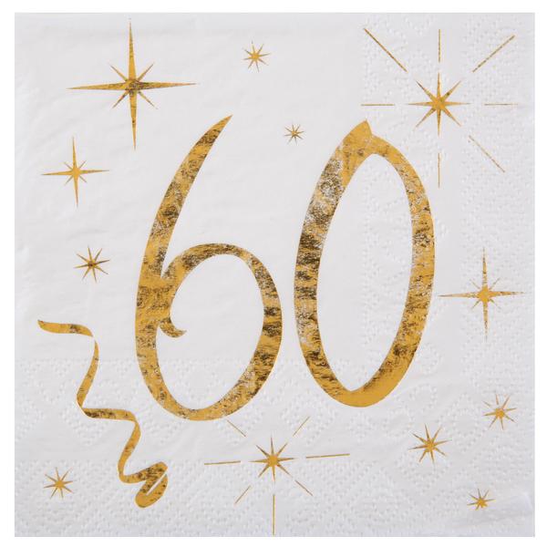 60. Geburtstag Servietten gold weiß Metallic 25 x 25 cm klein
