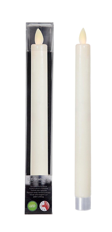 2 LED Echtwachs Stabkerzen mit beweglicher Flamme 5 Std. Timer