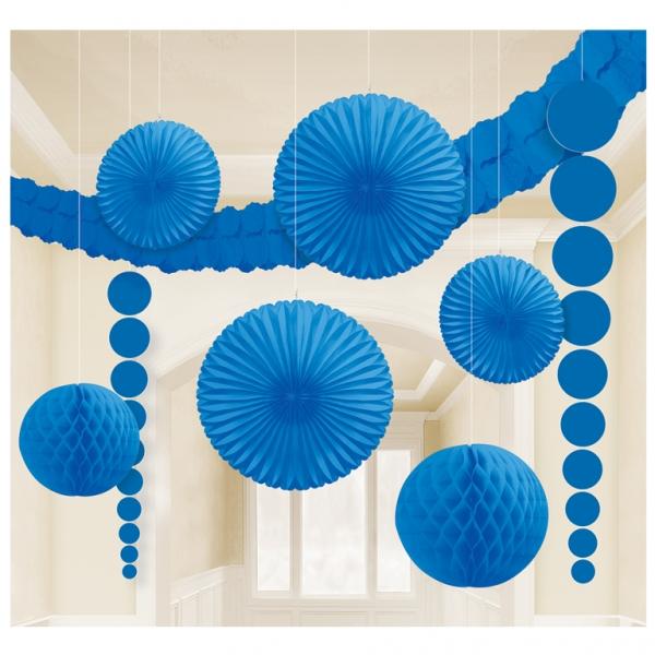hängende XL Raum Dekoration Party Fächer Lampions uvm. dunkelblau
