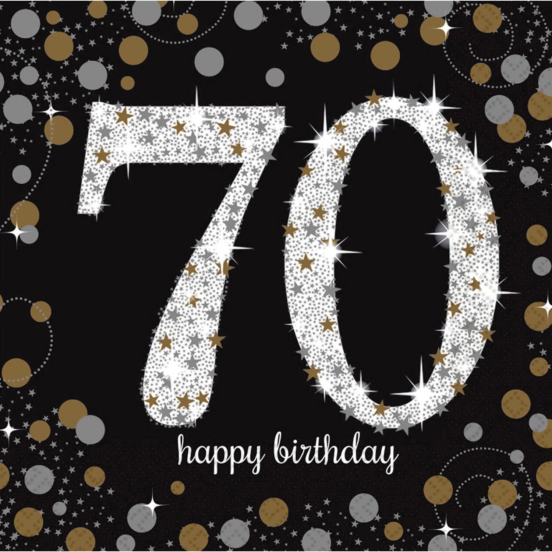 70. Geburtstag Party Servietten schwarz gold