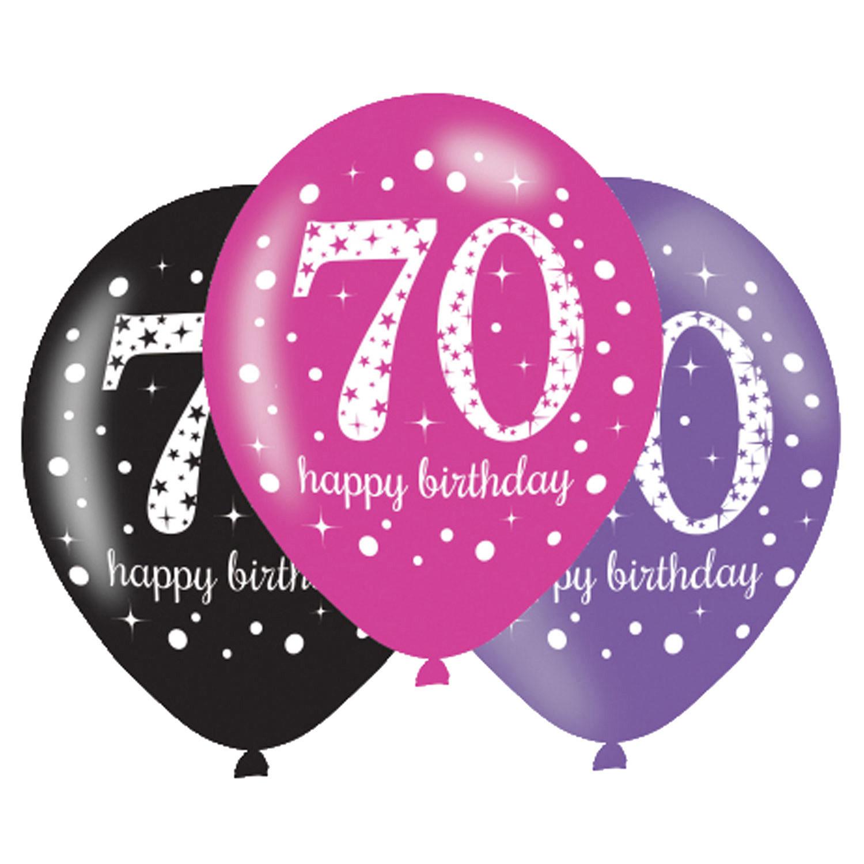 70. Geburtstag Party Luftballons Pink schwarz
