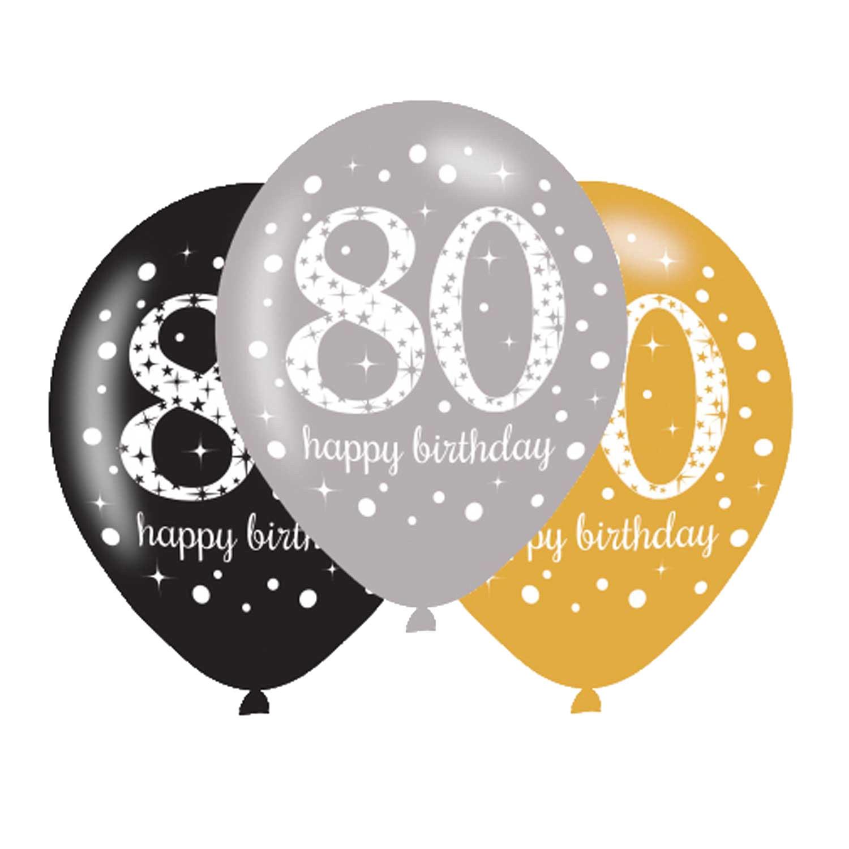 80. Geburtstag Party Luftballons schwarz silber gold