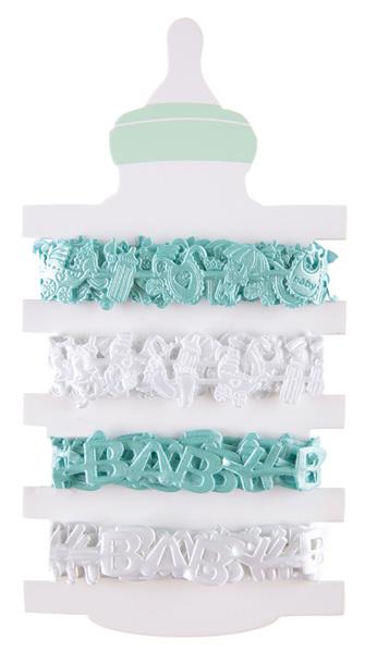 4 Geschenkbänder Taufbänder Baby Jungen 1,5 cm x 2,00 m mint und weiß