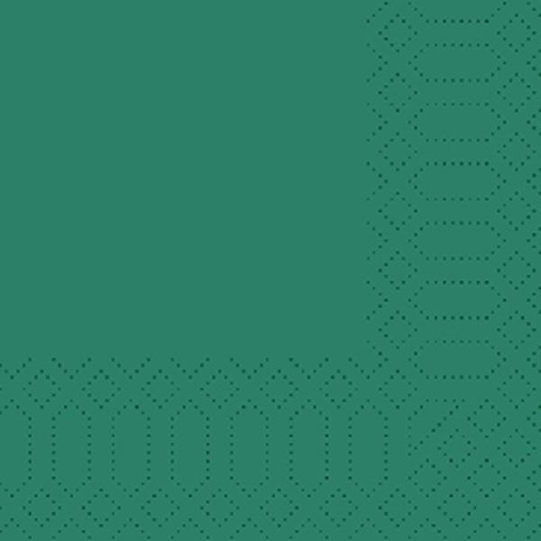 250 Duni Zelltuch Servietten jägergrün 3 lagig 1/4 Falz 24x24 cm