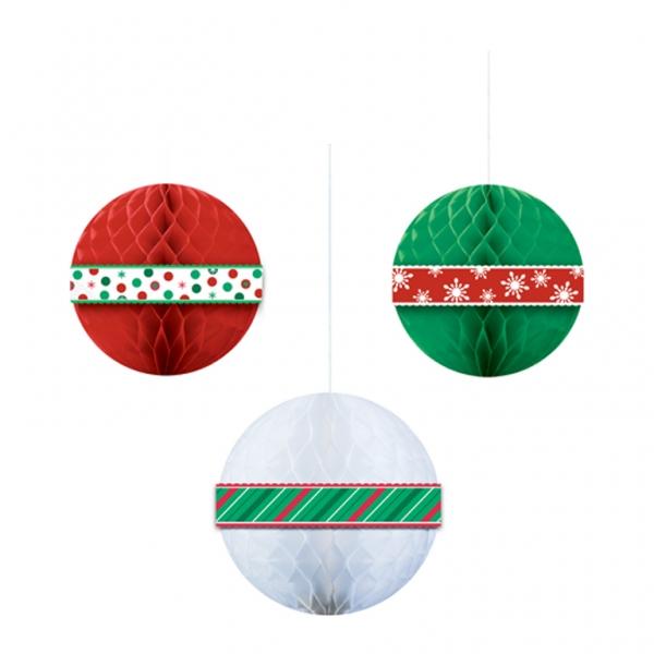 3 Weihnachtskugeln Wabenbälle rot grün und weiß