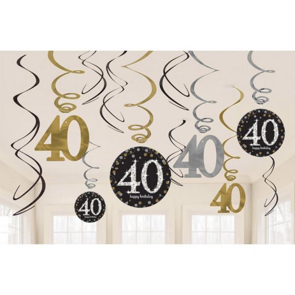 40. Geburtstag Party Swirl Girlanden schwarz gold