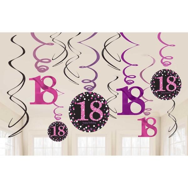 18. Geburtstag Party Swirl Girlanden schwarz pink