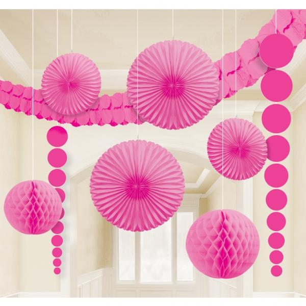 hängende XL Raum Dekoration Party Fächer Lampions uvm. pink