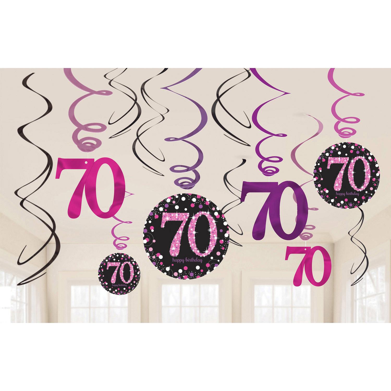 70. Geburtstag Party Swirl Girlanden schwarz pink