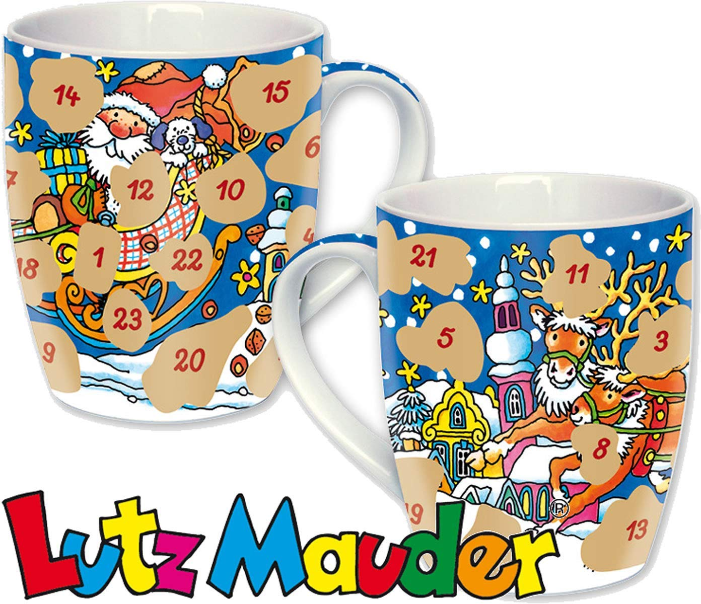 Adventskalender Tasse, Advent ...Advent ein lichtlein ... Rubbel Tasse