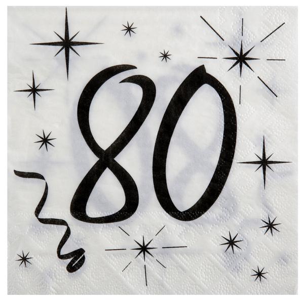 80. Geburtstag Servietten schwarz weiß