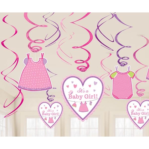 Baby Party Swirl Girlanden ... es wird ein Mädchen